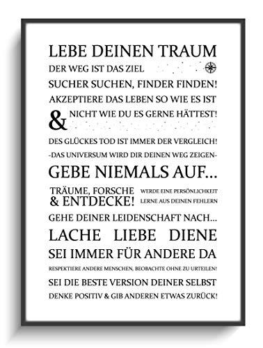 Wanddeko Zuhause Wohnung DIN A4 Plakat Lebe Deinen Traum 1 ohne Rahmen Design Modern Sprüche Motivation Mann Frau Beste Mama Papa Junge Mädchen