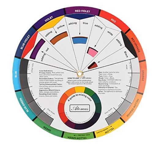 LAANCOO Farbmisch Leitrad, Farbrad Papier Mix-Karte Chromatische Kreisführung Supplies Chromatographie Tattoo Nail Pigment