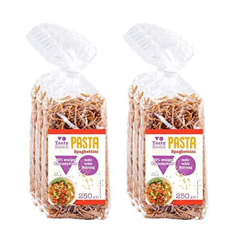TastyBasics Pasta Spaghettini (6 x 250gr) | Gesunde Low-Carb Nudeln aus Hülsenfrüchten| 60% weniger Kohlenhydrate |Reich an Proteinen & Ballaststoffen | Ohne Zuckerzusatz