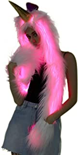 Unicorn Hat Faux Fur Animal Hoodie LED Hat with Scarf Gloves Mittens