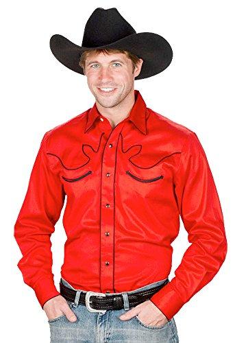 Sunrise Outlet Men's 100% Cotton Retro Western Cowboy Shirt-Red-Small