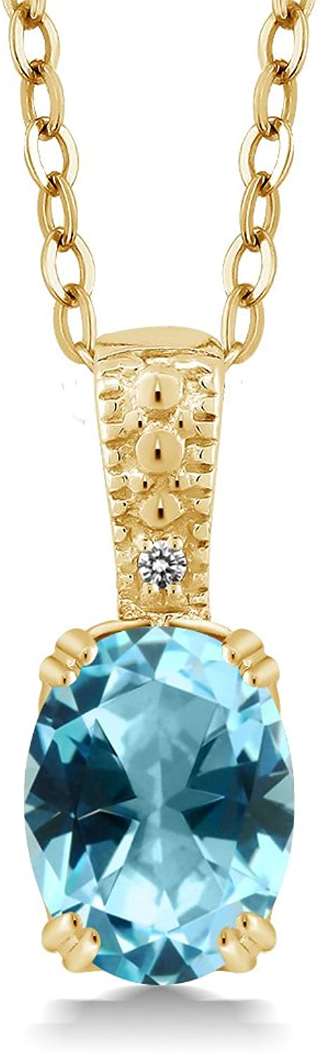 18K Yellow gold Plated Silver Diamond Accent Pendant Natural Ice bluee Topaz Cut by Swarovski (1.33 cttw, with 18  Chain)