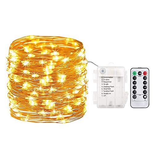 LED Lichterkette, Sooair 10M 100LEDs Kupferdraht Lichterkette, 8 Modi Lichterketten für Zimmer, DIY Dekoration Lichterkettenvorhang für Innen Weihnachten Außen Party Garten Hochzeit (Warmes Weiß)