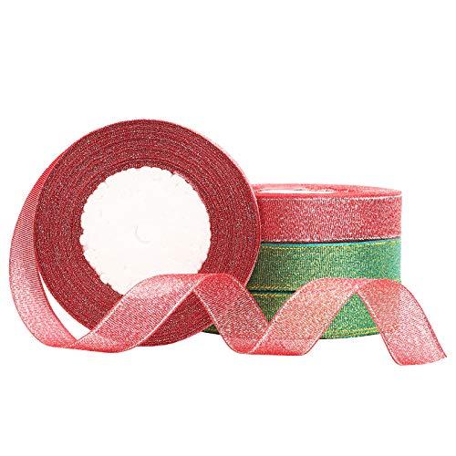 CINMOK 100Yard Geschenkband Weihnachten Schleifenband Weihnachtsband 2 Rot Dekoband 2 Grün Organza Band Glitterband für Geschenk Verpackung DIY Handwerk Valentinstag Dekoration