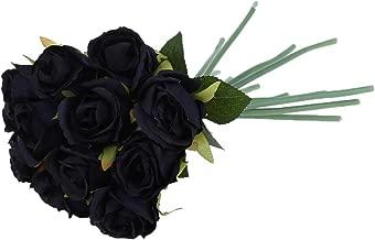 VIVIANU - Ramo de 12 rosas artificiales de seda para ramo de boda, fiesta, decoración del hogar negro