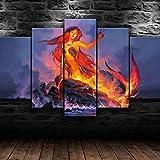 DBFHC Lava Sirena Princesa Fantasía Cuadros En Lienzo Decoracion De Pared 5 Piezas HD Modernos Mural Fotos Arte Pintura Marco para,Salon,Dormitorio,Decoración del Hogar(150 X 80 Cm)