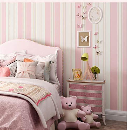 Papel pintado Rayas verticales mediterraneas no tejido papel de pared dormitorios salón hotel fondo de TV elegante moderno fine decor Raya rosa