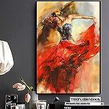 KWzEQ Pintura sin Marco Bailarina de Danza Abstracta niña Pintura al óleo sobre Lienzo póster de Pared artAY7232 40X60cm