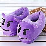xinghui Plüschspielzeugschuhe,Damen leichte Hausschuhe,Emoji Cartoon Baumwollpantoffeln, warme Plüsch Baumwollschuhe-Dämon_35-43