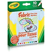 Crayola Fabric Fine Line Markers, School and Craft Supplies, Drawing Gift for Boys and Girls, Kids, Teens Ages 5, 6,7, 8 and Up, Holiday Toys, Stocking , Arts and Crafts,  Gifting