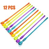 AQUEENLY Cocktail Spoon Set of 12 Mixed Color Plastic Drink Stirrers with Long Handle for Iced Tea Coffee Ice Cream, 10.3 Inch