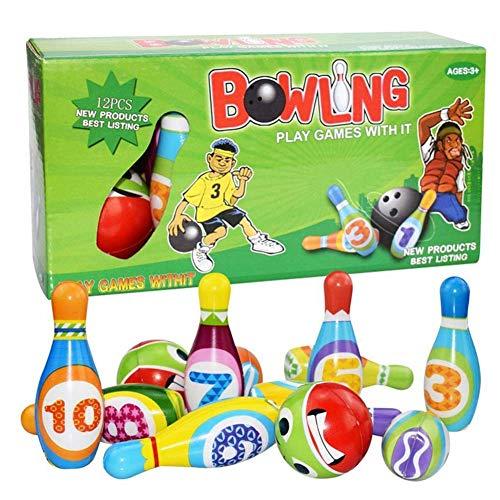 Cartoon bowlingbal Speeltoestel Kids Puzzle ouder-kind interactief speelgoed Sport & Fitness, pak grote, solide, indoor jongens en meisjes,Green