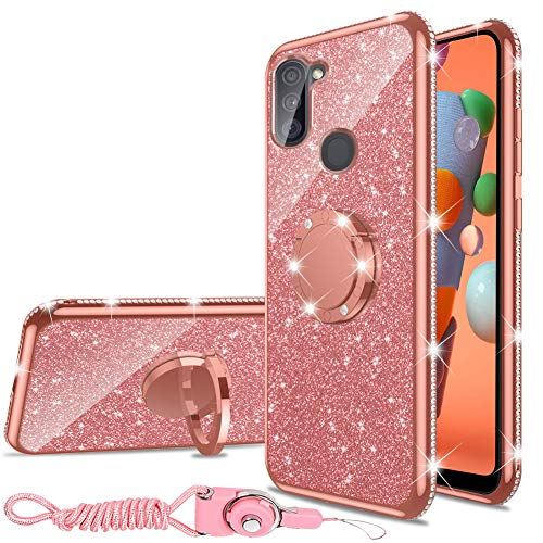 Samsung Galaxy A11 Case, Glitter Luxury Cute Silicone TPU Phone Case for Women Girls with Kickstand, Bling Diamond Rhinestone Bumper Ring Stand Slim Case for Galaxy A11 (Rose Gold)