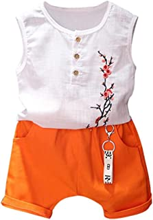 VigorY Toddler Kids Baby Girls Outfits Clothes Cherry Vest Shirt Tops+Shorts 2PCS Set 2-7T
