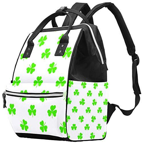 Green Clovers - Zaino per pannolini, grande capacità, multifunzione, impermeabile, per la cura del bambino