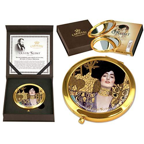 CARMANI - Plaqué Or Bronze Poche, Compact, Voyage, Miroir décoré avec de la Peinture de Klimt 'Judith'