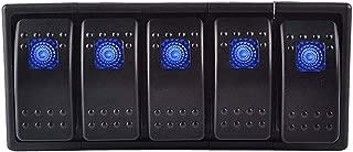 ESUPPORT 12V 20A Bar Rocker Toggle Switch Blue LED Light Lamp 4Pin Holder Panel Car