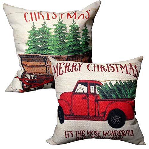 Songtec Christmas Throw Pillow Covers 18x18 Inches, Tree and Red Vintage Truck Farmhouse Decorations Outdoor Patio Pillowcases Cushion Home Decor - 2 Packs