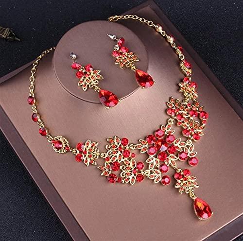 YUANBOO Joyas Nupciales De Cristal Rojo Vintage Barroco Conjuntos De Joyería De Rhinestone Tiaras Crown Choker Collar Pendientes Conjunto Accesorios De Boda (Metal Color : 2Pcs Jewelry Set)