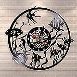 SXLCKJ Diseño Moderno Goldfish Wall Art Reloj de Pared Disco de Vinilo Reloj de Pared jardín de Infantes decoración del Acuario Reloj de Pared (Regalos)