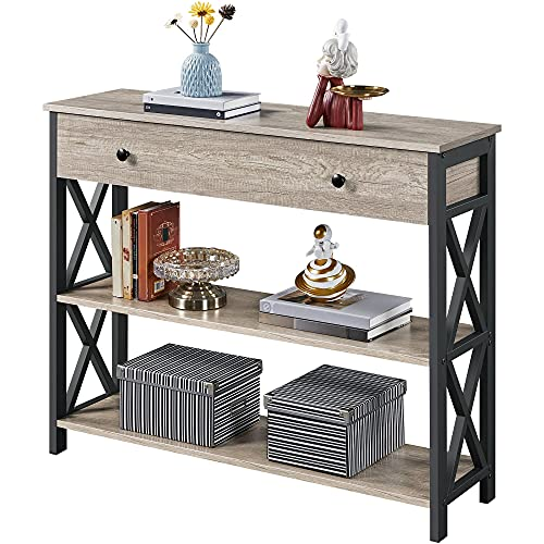 YAHEETECH Console Table with Drawer for Entryway, Narrow Entry Table for Living Room with Drawer & Open Storage Shelves, Industrial Wood Hallway Sofa Table with Stable Metal Support, Gray