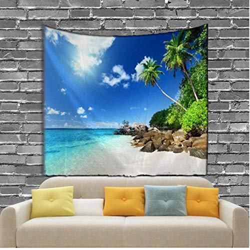 fczka The Seaside Scenery Tapiz Digital Impreso Colgante de Pared Sandy Beach Toalla Azul 59x91 Inches(150x230cm)