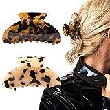 2 pinzas para el pelo con diseño francés de carey pasadores, celuloide, estampado de leopardo, accesorios de moda grandes para mujeres y niñas