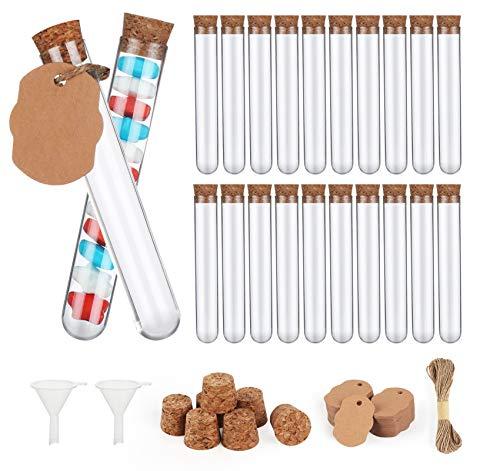 100 Stück Reagenzgläser Kunststoff Transparent Reagenzgläser Reagenzglas mit Korken100 Stück Aufzug + 20 m Hanfseil + 2 Stück Trichter, für DIY Craft Spices Liquids Sweets Candy