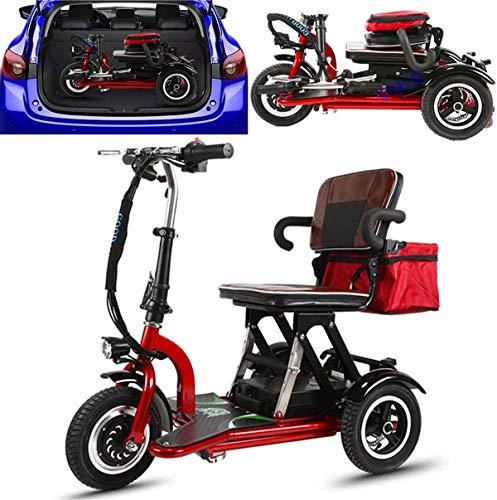 Silla de ruedas eléctrica Plegable scooters de movilidad, 300W ancianos Ocio batería de litio eléctrica triciclo 48V20AH Vespa eléctrica plegable adulto de coche pequeño mini coche minusválidos, regul