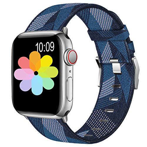 Wepro Kompatibel mit Apple Watch Armband 44mm 42mm, Nylon Sports Loop Ersatz Armband mit Edelstahlschnalle für Apple Watch SE/iWatch Series 6 5 4 3 2 1, Blau/Weiss