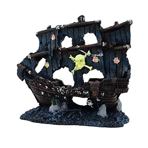 JUFENG PET Aquarium Decoration - Pirate Ship Aquarium Ornament - Delicate Shipwreck Fish Tank Ornaments
