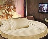 Cama redonda SCALABEDDING rayas 6piezas Juego de sábanas 500TC 100% algodón egipcio Reina 84cm de diámetro), color beige
