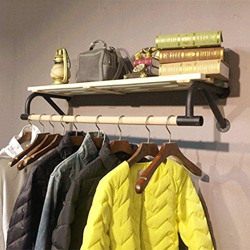 Coat rekken SKC verlichting retro combinatie muur mount massief hout haak muur plank muur kledingrek geschikt voor woonkamer slaapkamer studie robuuste/fijn/gemakkelijk te reinigen (60cm, 80cm, 100cm, 120cm)