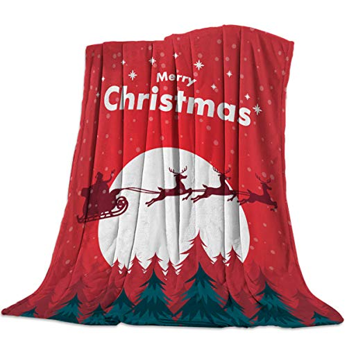 Womenfoucus Warm&Cozy Sherpa Fleece Blanket, Soft Fluffy Throw Plush Blanket Seasons for Couch Bed Sofa - Christmas with Full Moon Elk and Santa Claus in a Sleigh, 49x79in