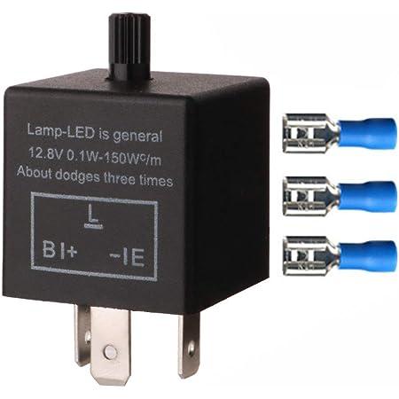 Blinkrelais électroniquement 12 V 2 Pôle 1-130 W Pour Standard /& DEL Clignotant moto