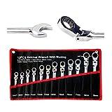Lot de 12 clés à cliquet à tête flexible 8-19 mm en acier au chrome vanadium avec sac de rangement