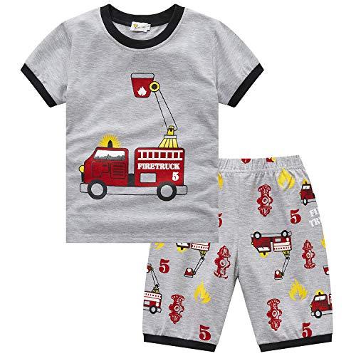 Adorel Jungen Schlafanzug Zweiteiliger Sommer Pyjama Kurz Feuerwehrauto 98 (Herstellergröße 110)