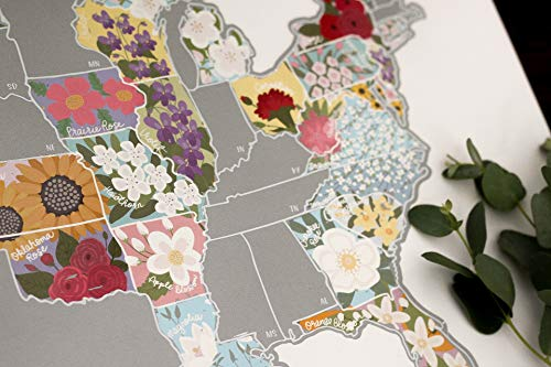 JetsetterMaps Scratch Your Travels US State Flowers Map (Official State Flowers Wall Art of The United States of America) (Silver)