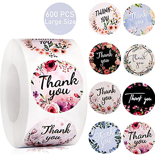 Thank You Stickers Roll, 600 PCS 1.5 Inch Happy Mother's Day Present Stickers, 8 Floral Designs Thank You Labels for Mother's Day, Wedding, Baking Packaging, Envelope Seals, Gift Wrap Bag