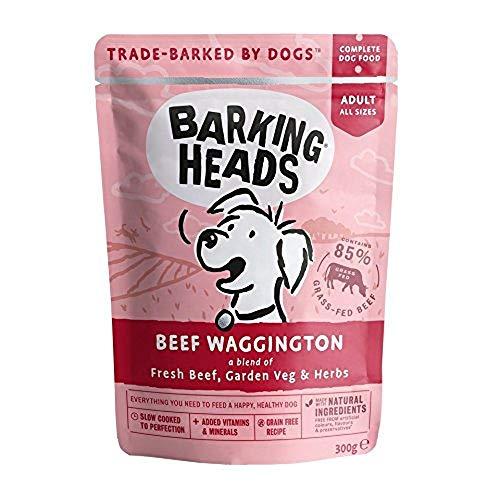 Barking Heads Hundefutter Nass Getreidefrei - Bestes Rind - 85% Fleisch von grasgefütterten Rindern, ohne künstliche Geschmacksverstärker, 10 x 300g
