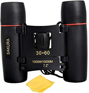 supersure Waterproof 30X60 Zoom 30X Prism Binocular Telescope Monocular with Pouch Hard Rubber Black Color
