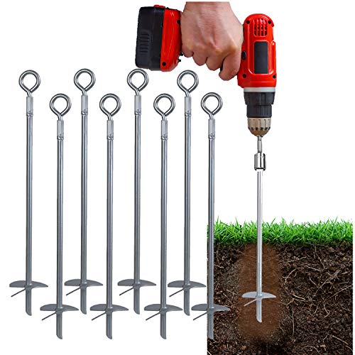 """Powerful 8-Piece 18"""" Earth Auger Shed Anchor Kit - 1000 LBS Pressure Tested Hold Per Stake–10 Sec Install w/Cordless Drill. Heavy Duty, Reusable, Rust Proof Anchor Set, Galvanized Last 20 Years (8)"""