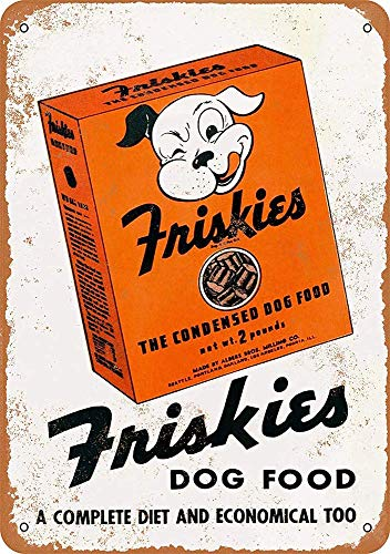 WallAdorn Friskies Hundefutter-Poster, Blechschild, Vintage-Wanddekoration, für Café, Bar, Pub, Zuhause, 20,3 x 30,5 cm