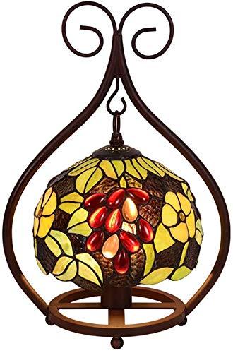 KLDDE Lámpara de Mesa Tiffany Baroque, Jugen Estilo Lámpara de Mesa, Vintage Mediterráneo Pastoral Hermosa Flores Manchas Lámpara de Dormitorio Lámpara de Noche Decoración Iluminación Interior E27