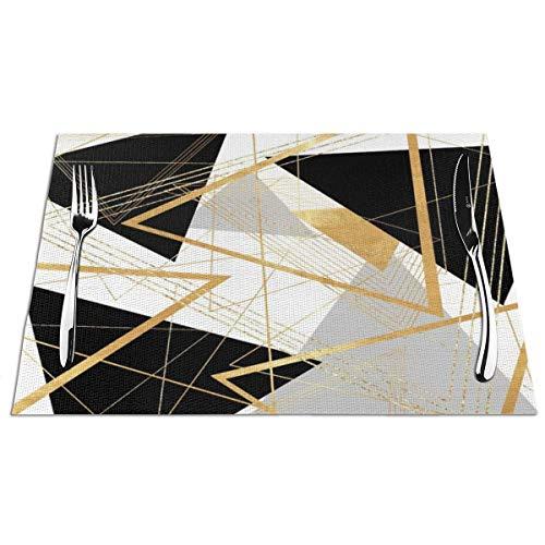 N / A Geometrische Tischsets in Schwarz und Gold schützen Tischsets für den Esstisch für den hölzernen Bauerntisch aus Holz. Set 6,30 x 45 cm