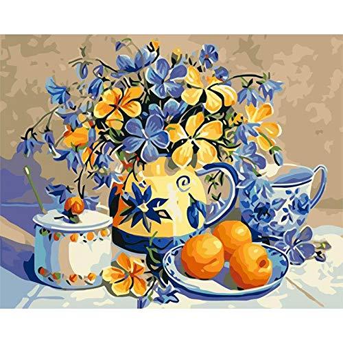 ZXDA DIY Pintura por números Flor Pintura al óleo Pintado a Mano Lienzo Dibujo decoración del hogar Kit de Regalo Pintura DIY Lienzo A9 60x75cm