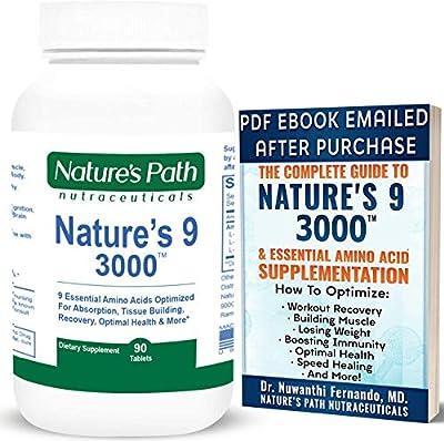 Nature's 9 3000 Essential Amino Acids Supplement, Best EAA Amino Acid Complex All 9 Essential Amino Acid Pills, Vegan Aminos 90 Pill 1 Gram Per Tablet