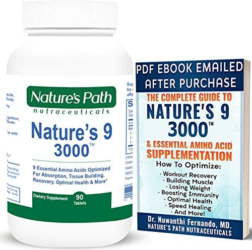 Price comparison product image Nature's 9 3000 Essential Amino Acids Supplement,  Best EAA Amino Acid Complex All 9 Essential Amino Acid Pills,  Vegan Aminos 90 Pill 1 Gram Per Tablet