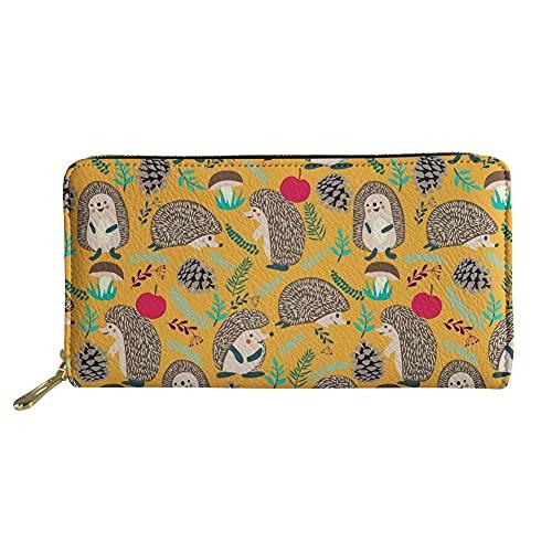 Gelber Igel mit Apfeldruck Damen Mädchen Lange Brieftasche Reißverschluss Um Geldbörse ID Karte Kreditkartenetui Reisepass Organizer Tasche