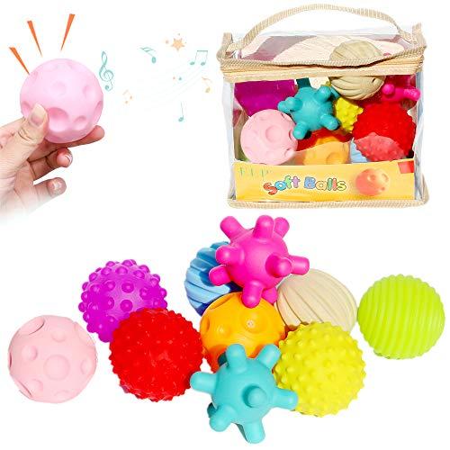 Tian 赤ちゃんおもちゃ ベビー用ボール 音の出るボール10個 、想像力を育つ知育玩具 お風呂遊び 柔らかいボ...